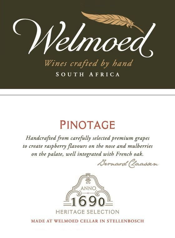 Welmoed Wines Pinotage 2014 Front Label