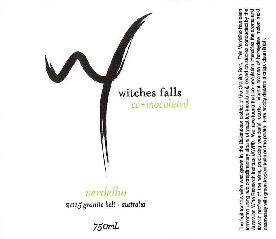 Witches Falls Winery Co-inoculated Verdelho 2015 Front Label