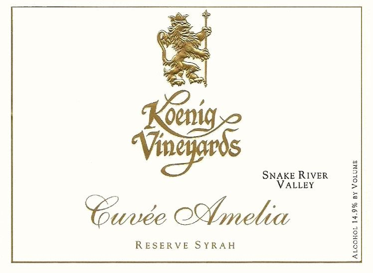 Koenig Distillery and Winery Cuvee Amelia Reserve Syrah 2010 Front Label