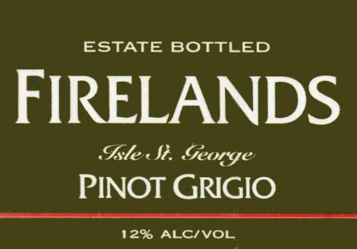 Firelands Pinot Grigio 2002 Front Label