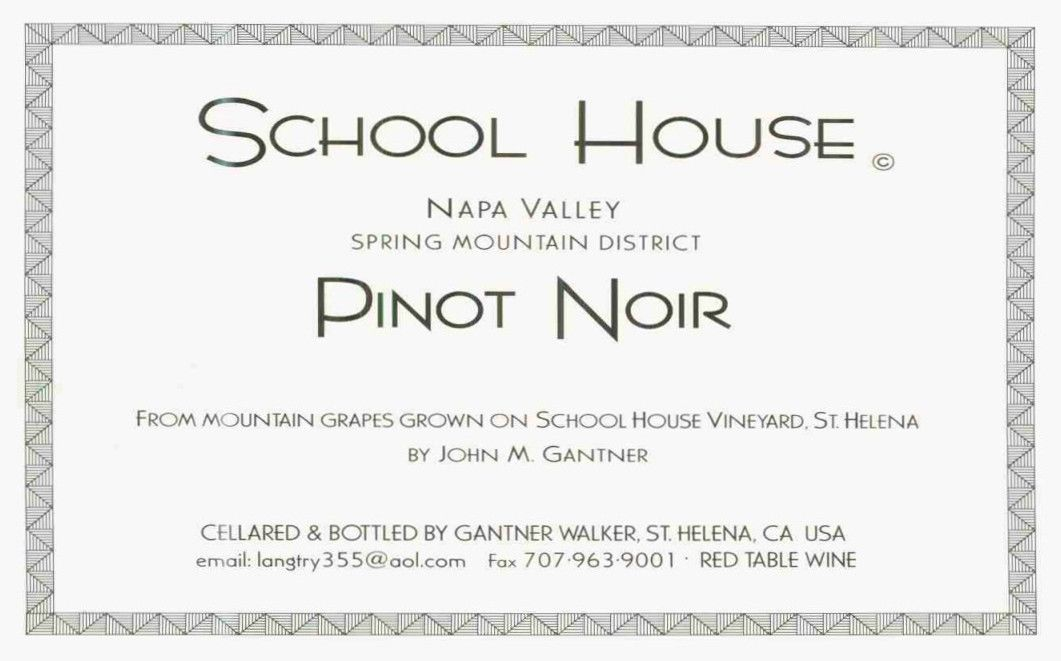 School House Pinot Noir 2003 Front Label