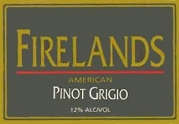 Firelands Pinot Grigio 2005 Front Label