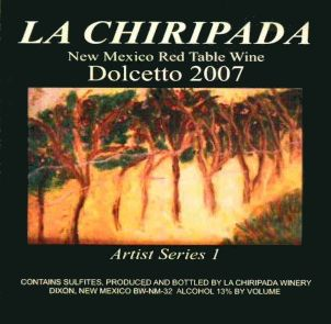La Chiripada Winery Artist Series 1 Dolcetto 2007 Front Label