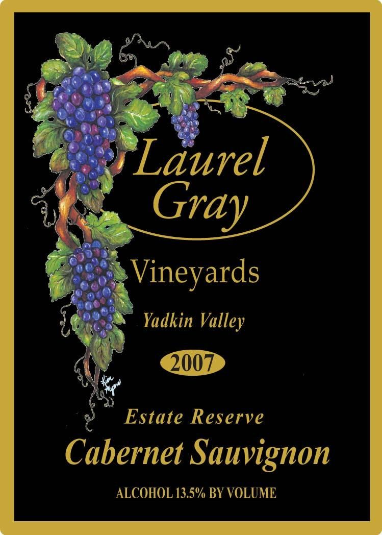 Laurel Gray Vineyards Estate Reserve Cabernet Sauvignon 2007 Front Label