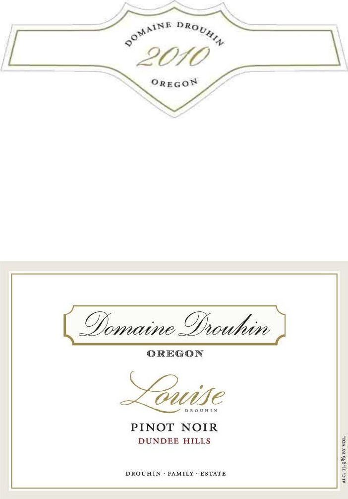 Domaine Drouhin Oregon Louise Drouhin Pinot Noir 2010 Front Label