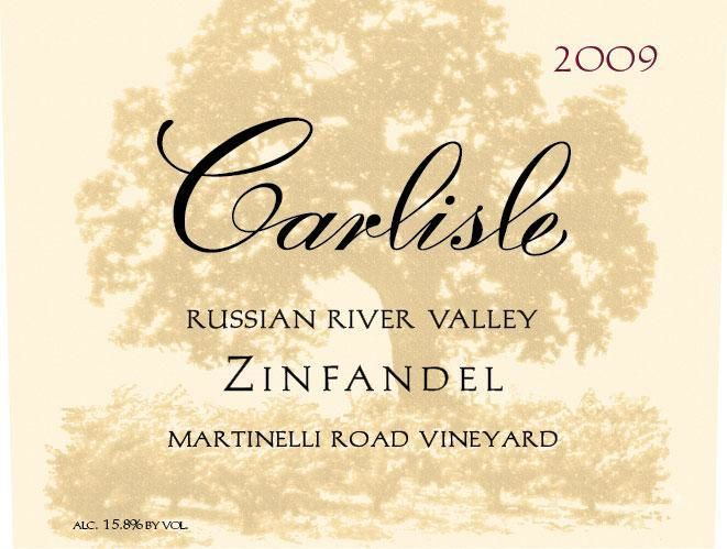 Carlisle Martinelli Road Vineyard Zinfandel 2009 Front Label
