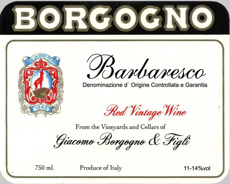 Borgogno Barbaresco 1978 Front Label