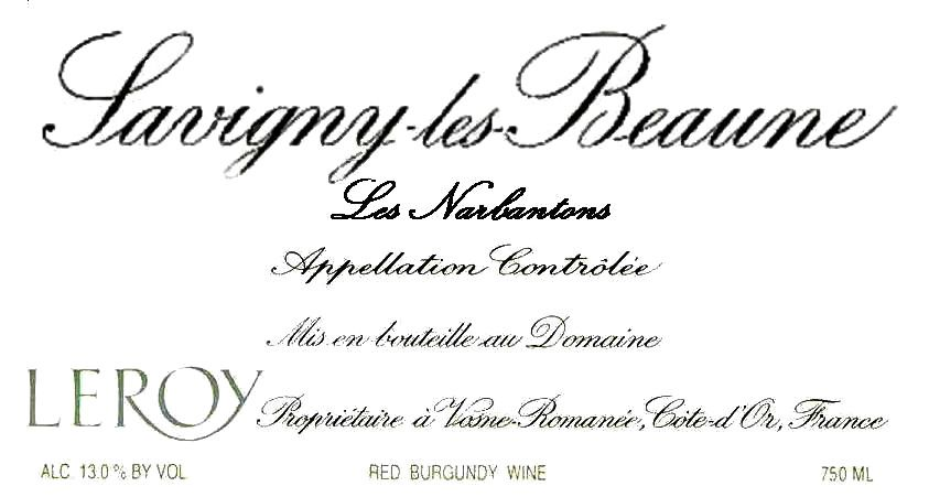 Domaine Leroy Savigny Les Narbantons 1998 Front Label