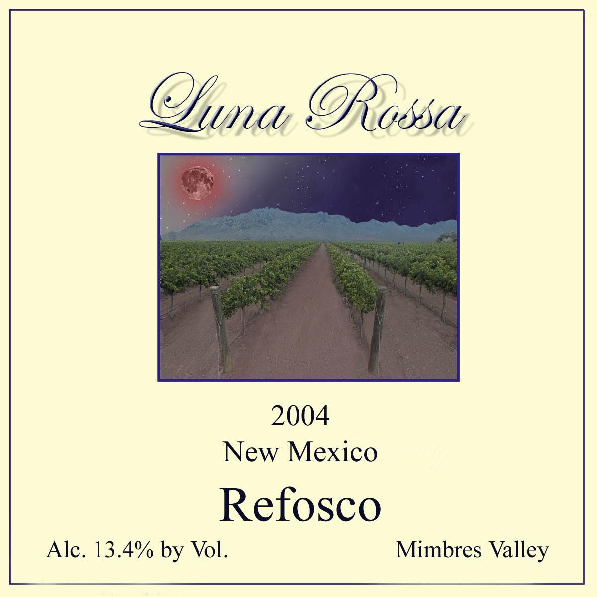 Luna Rossa Winery Refosco 2004 Front Label