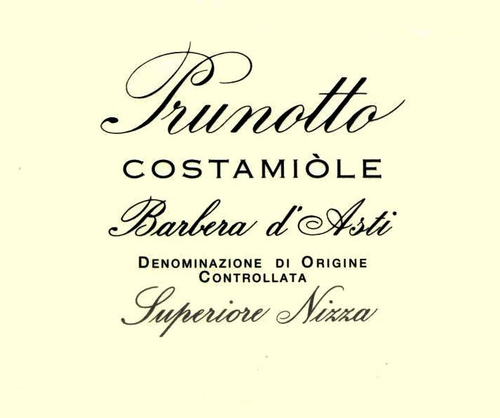 Prunotto Costamiole Barbera d'Asti 2004 Front Label