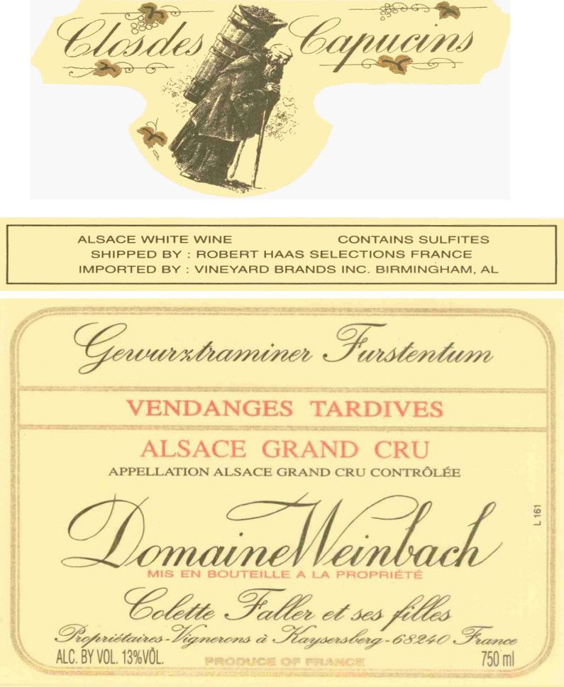 Domaine Weinbach Furstentum Vendages Tardives Gewurztraminer 2005 Front Label