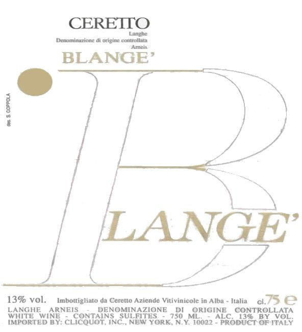 Ceretto Arneis Blange 2006 Front Label