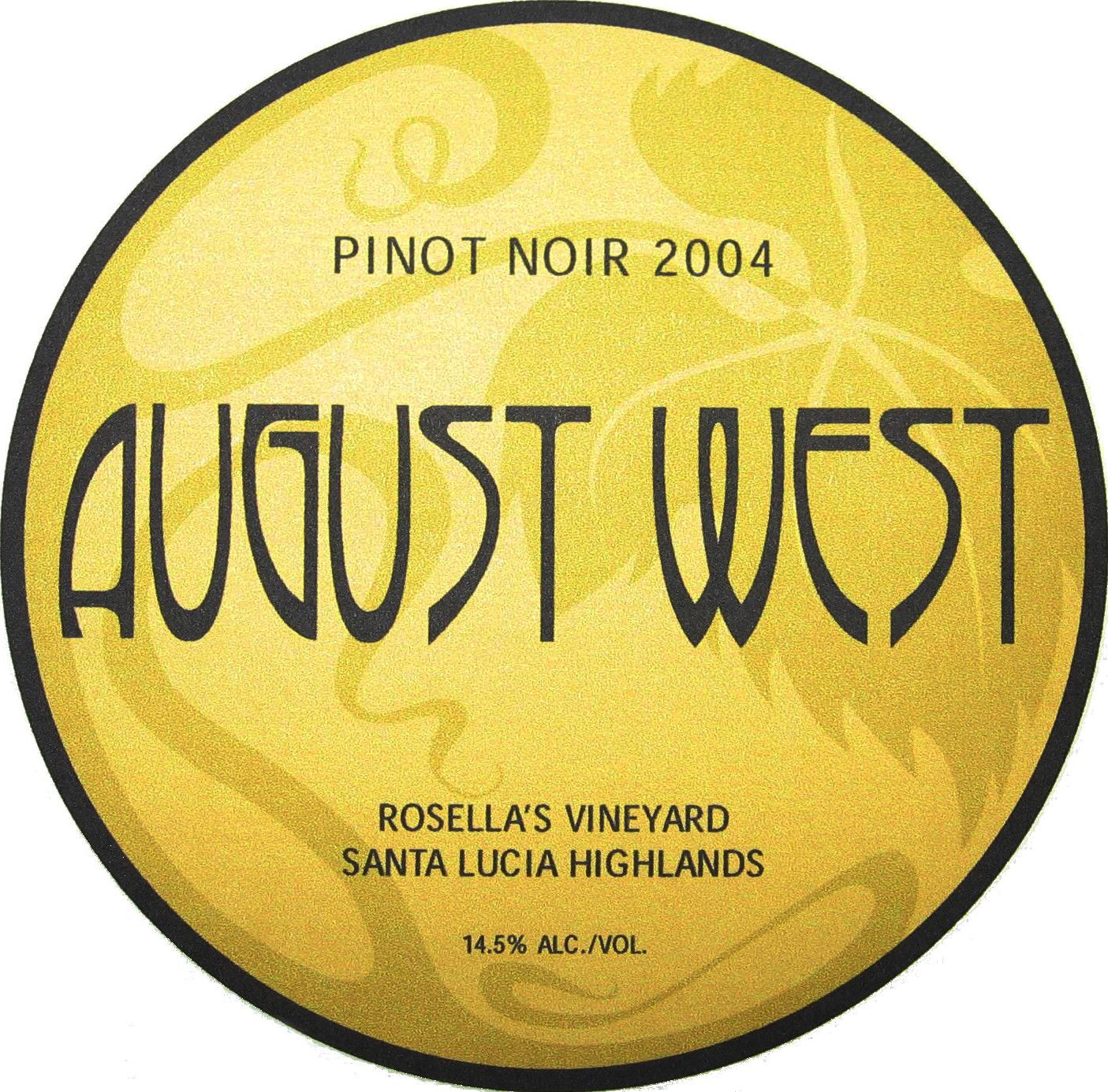 August West Rosella's Vineyard Pinot Noir 2004 Front Label
