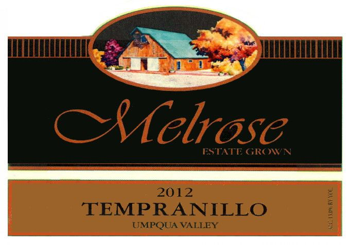 Melrose Wines Tempranillo 2012 Front Label