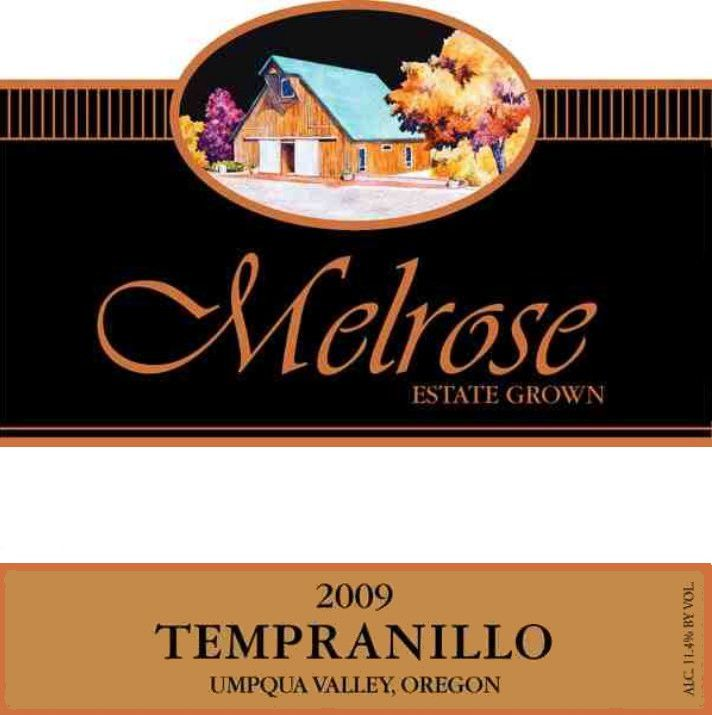 Melrose Wines Tempranillo 2009 Front Label