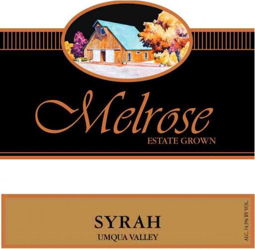 Melrose Wines Syrah 2010 Front Label