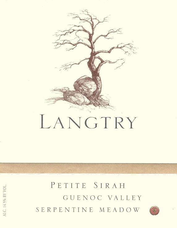 Langtry Estate Seprentine Meadow Petite Sirah 2008 Front Label