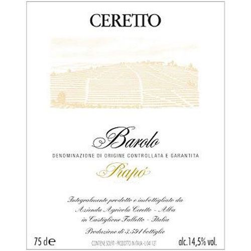 Ceretto Prapo Barolo 1996 Front Label