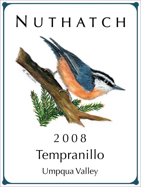 Nuthatch Cellars Tempranillo 2008 Front Label