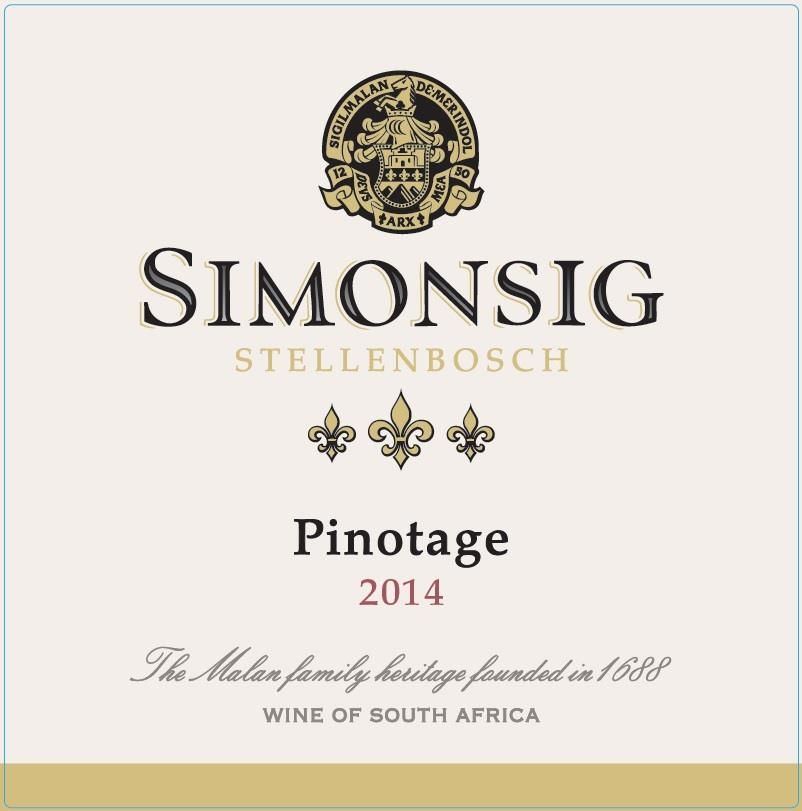 Simonsig Pinotage 2014 Front Label