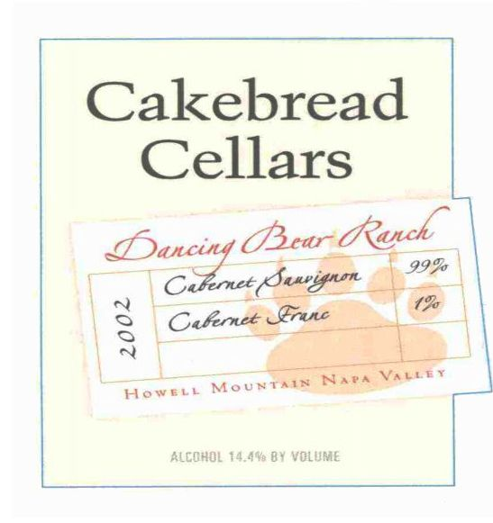 Cakebread Dancing Bear Ranch Red 2002 Front Label