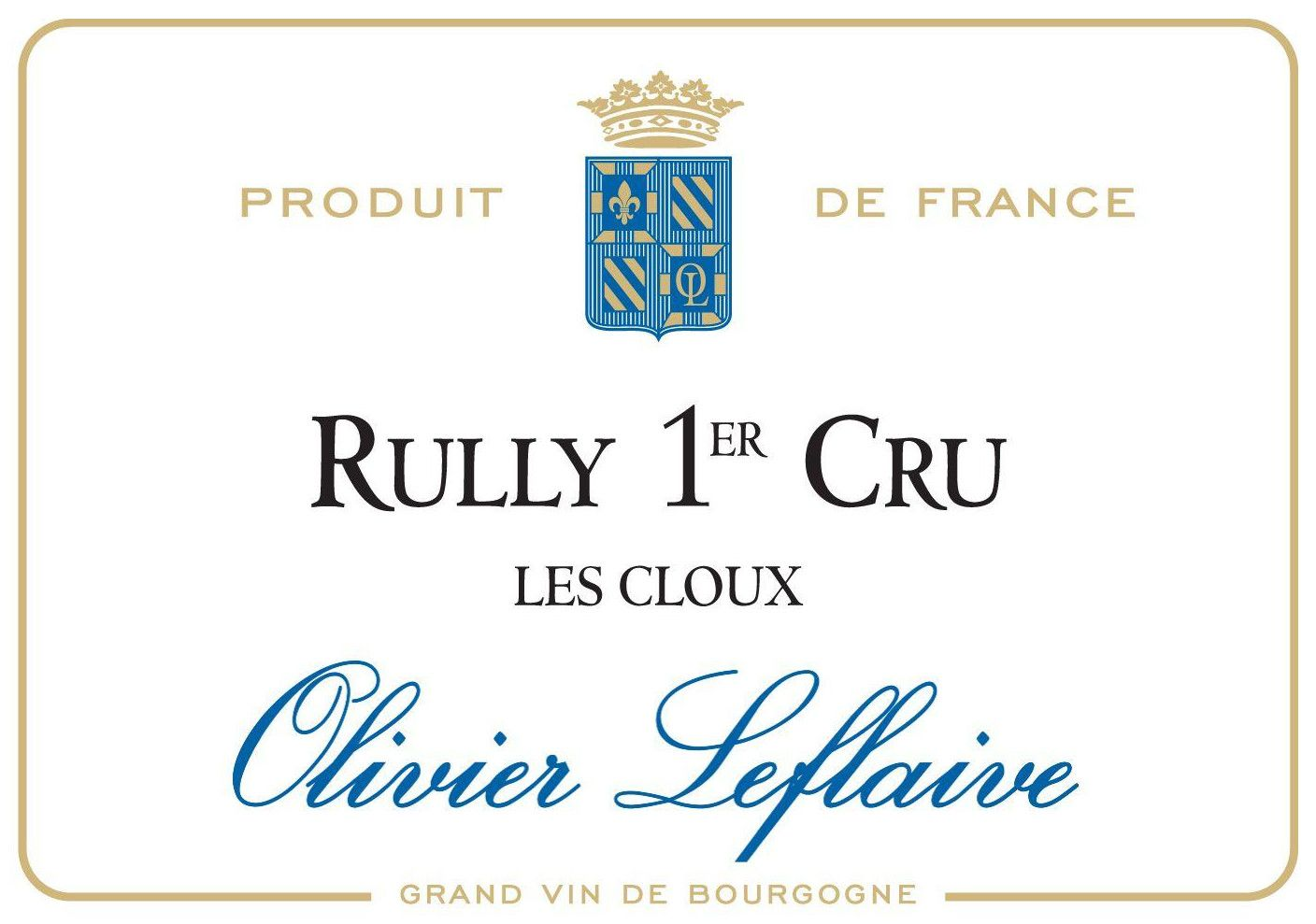 Olivier Leflaive Rully Les Cloux Premier Cru 2014 Front Label