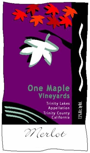 One Maple Winery Merlot 2012 Front Label