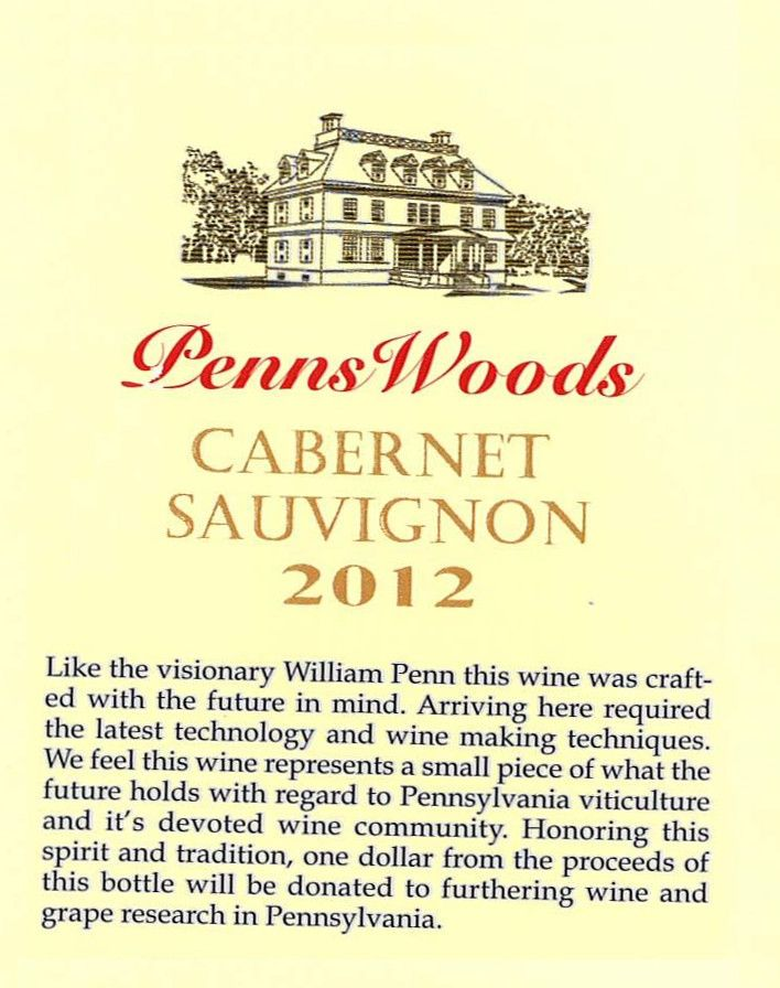Penns Woods Winery Cabernet Sauvignon 2012 Front Label
