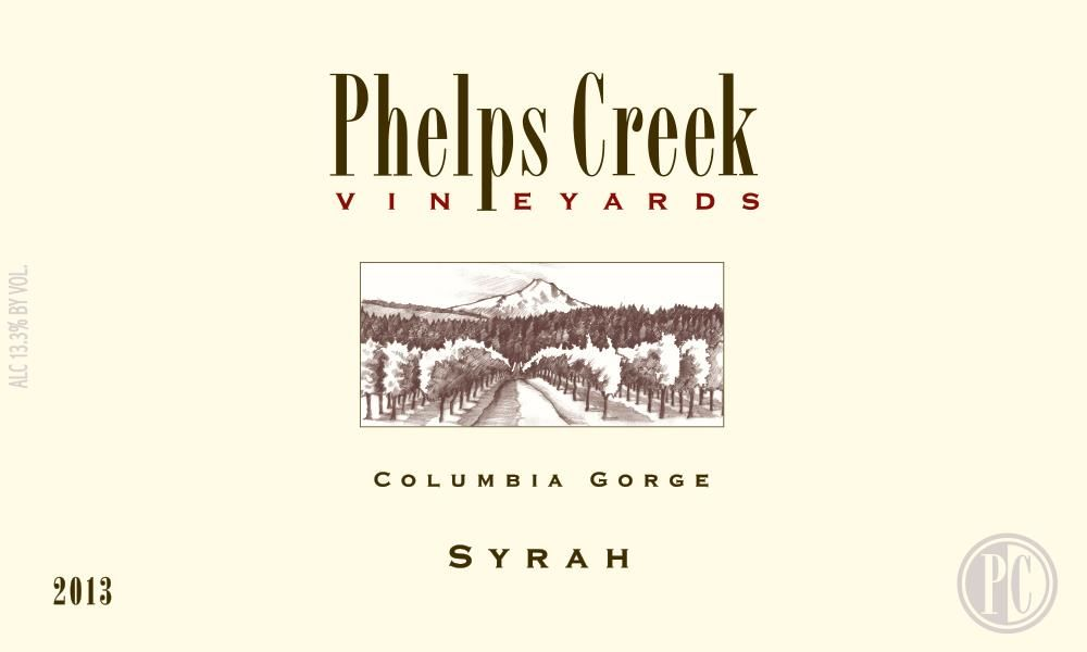Phelps Creek Wines Syrah 2013 Front Label