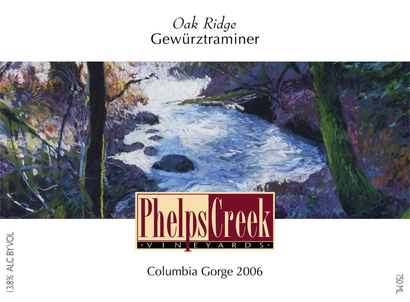 Phelps Creek Wines Oakridge Gewurztraminer 2006 Front Label