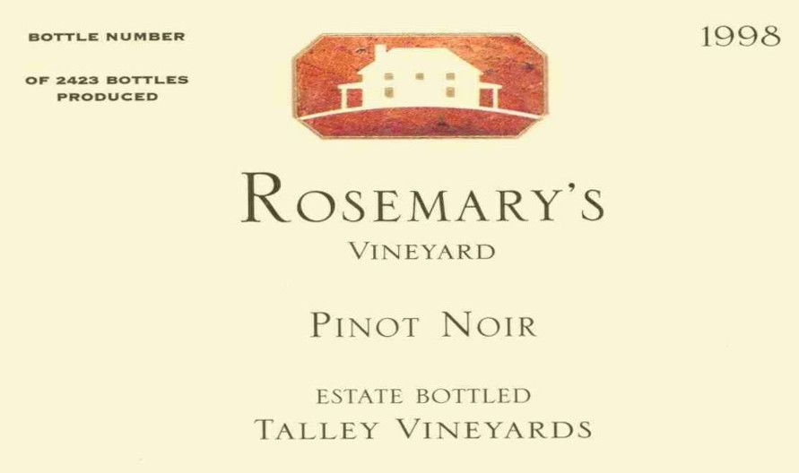 Talley Rosemary's Vineyard Pinot Noir 1998  Front Label