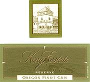King Estate Reserve Pinot Gris 2001 Front Label