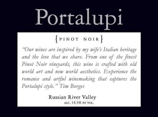 Portalupi Russian River Valley Pinot Noir 2010 Front Label