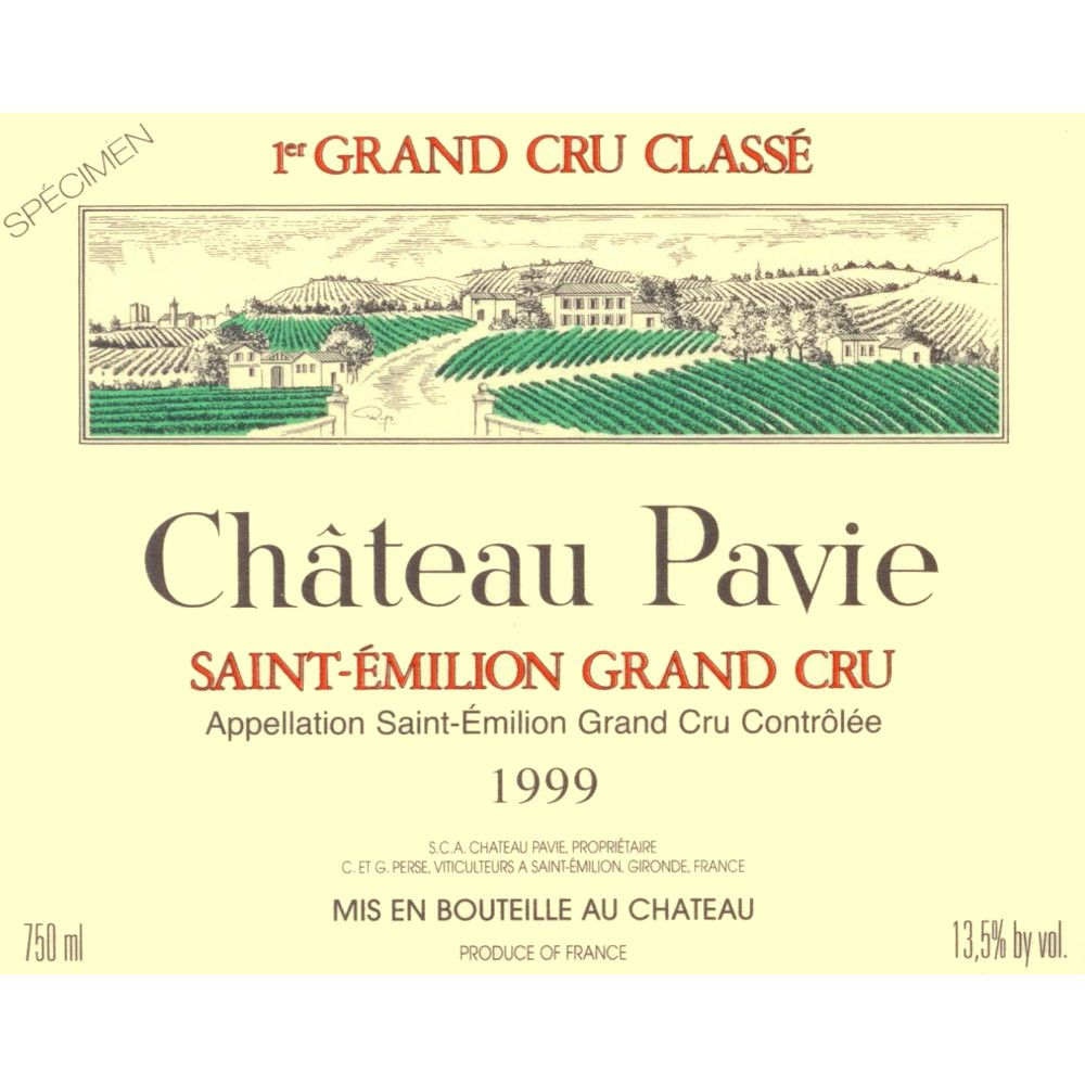 Chateau Pavie  1999 Front Label