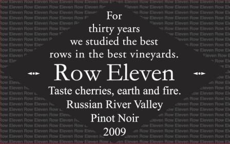 Row Eleven Russian River Pinot Noir 2009 Front Label