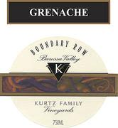 Kurtz Family Vineyards Boundary Row Grenache 2001 Front Label