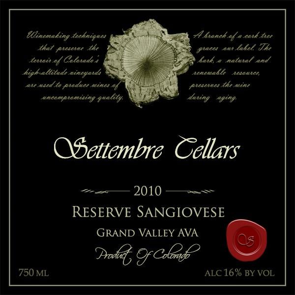 Settembre Cellars Reserve Sangiovese 2010 Front Label