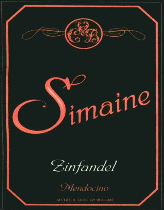 Simaine Cellars Zinfandel 2010 Front Label