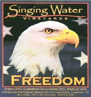 Singing Water Vineyards Freedom 2013 Front Label