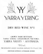 Yarra Yering No. 1 Dry Red 1999 Front Label