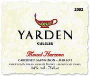 Yarden Mount Hermon Red (OK Kosher) 2002 Front Label