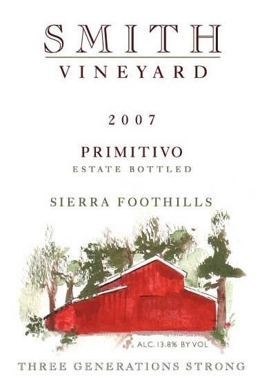 Smith Vineyard Primitivo 2007 Front Label