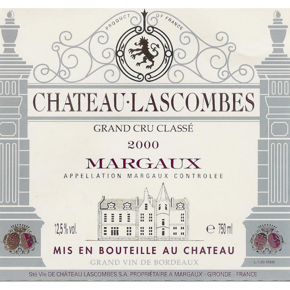 Chateau Lascombes  2000 Front Label