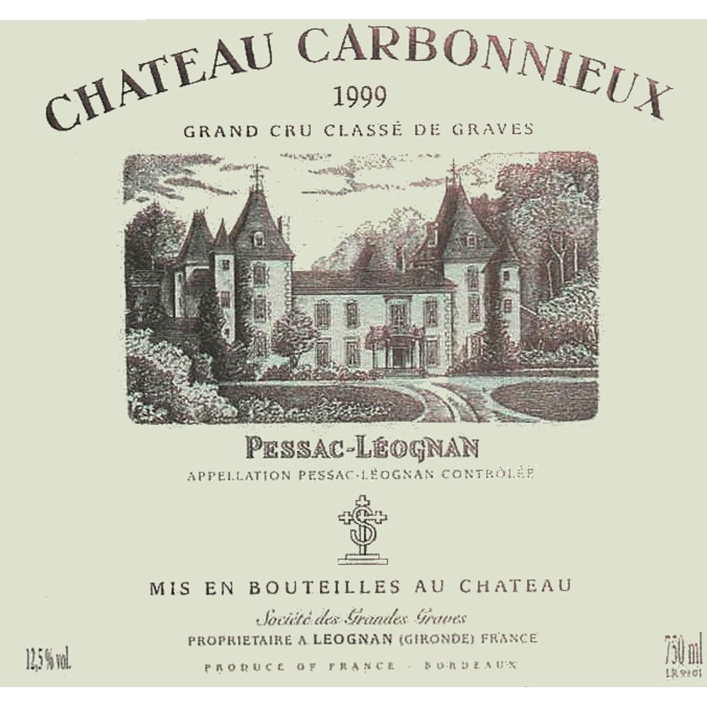 Chateau Carbonnieux (stained label) 1999 Front Label