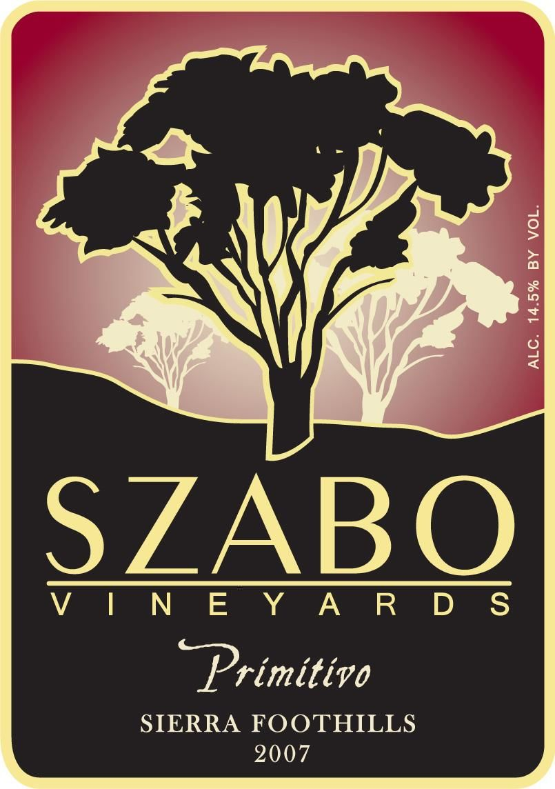 Szabo Vineyards Primitivo 2007 Front Label