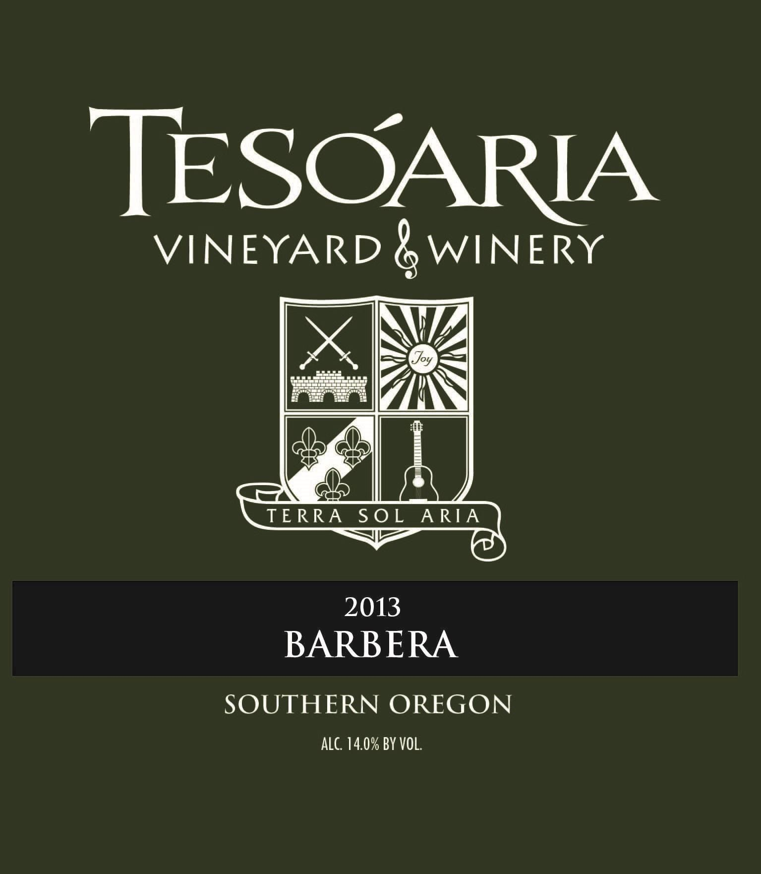 Tesoaria Vineyard & Winery Barbera 2013 Front Label