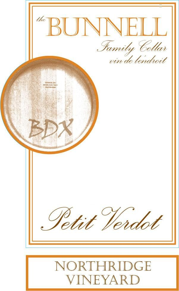 The Bunnell Family Cellar Northridge Vineyard Petit Verdot 2011 Front Label