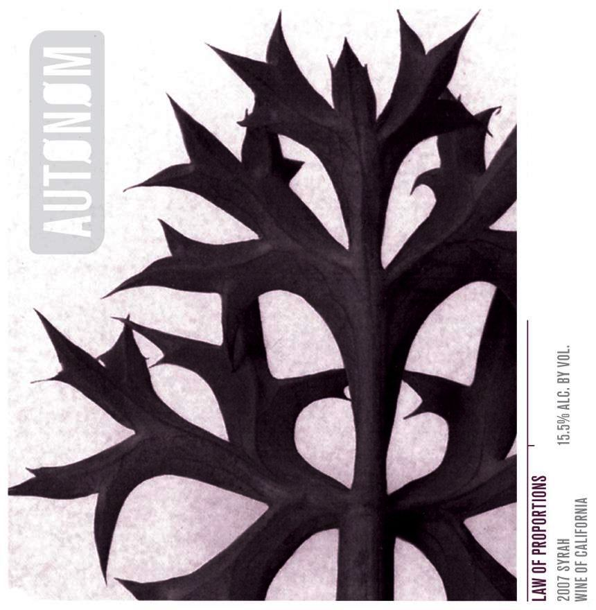 Autonom Law of Proportions Syrah 2007 Front Label