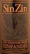Alexander Valley Vineyards Sin Zin Zinfandel 1.5L (Etched Bottle) 2001 Front Label