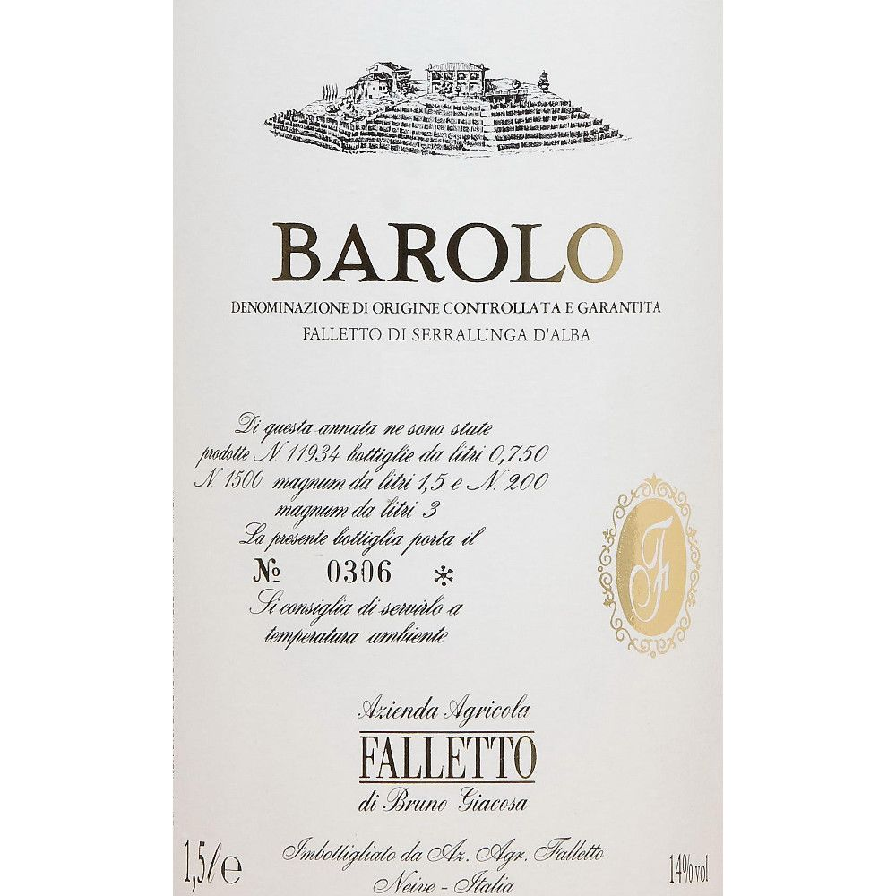 Bruno Giacosa Barolo Falletto 1999 Front Label